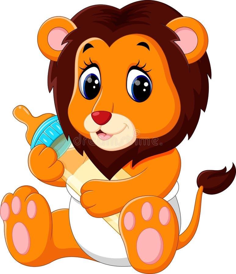 Cute baby lion cartoon stock illustration