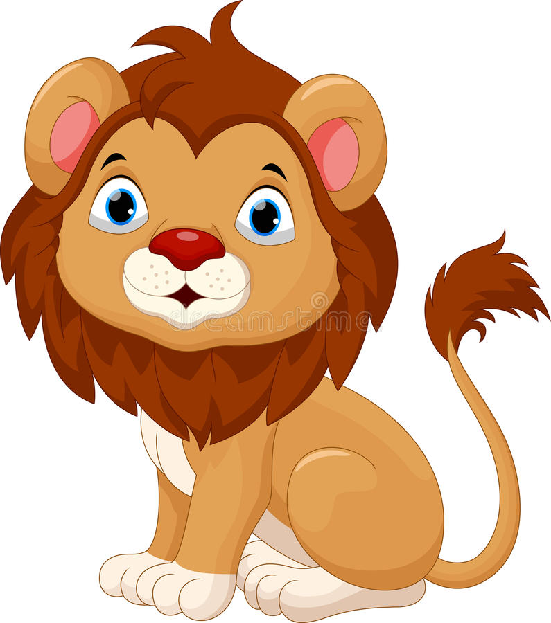 Cute baby lion cartoon sitting stock illustration