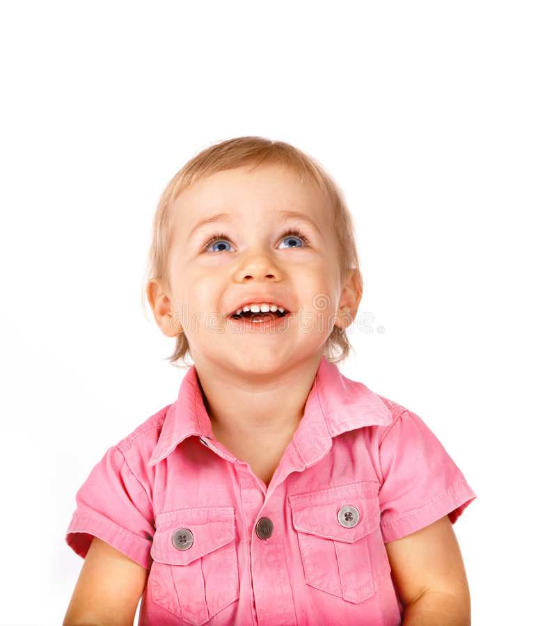 Cute baby looking up stock image