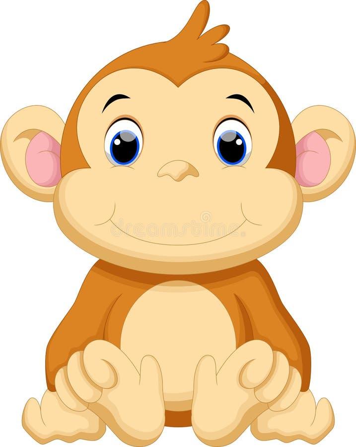 cute baby monkey cartoon stock illustration illustration