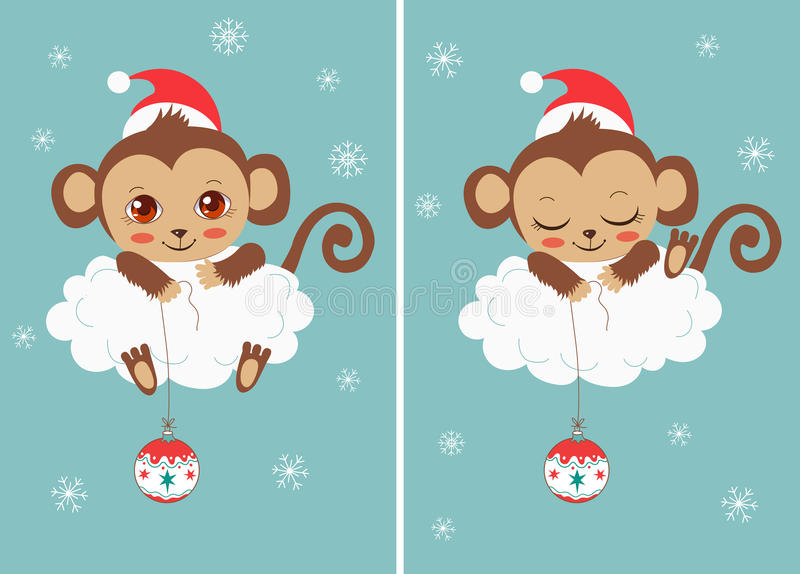 Cute Baby Monkeys With New Year Ball. Ð¡hristmas Characters. Cartoon Vector Card. Funky Monkey. stock illustration