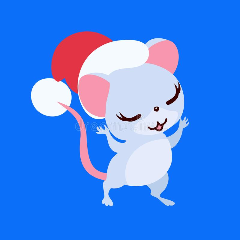 Cute baby mouse isolated in Santa hat. stock photos