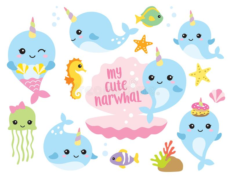 Cute Baby Narwhal or Whale Unicorn with Other Sea Animals. Vector illustration of cute baby narwhal or whale unicorn characters with fishes, seahorse, jellyfish vector illustration