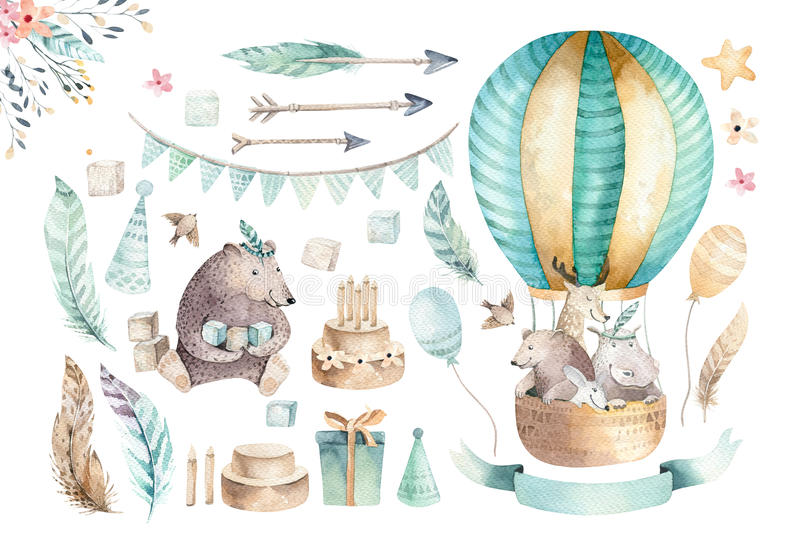 Cute baby nursery on balloon isolated illustration for children. Bohemian watercolor bohemian bear, cat hipo and deer stock illustration