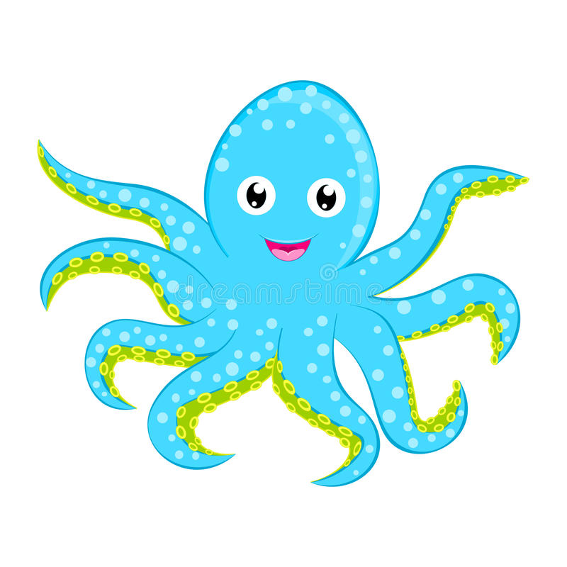 Cute baby octopus vector Cyan blue spotted cartoon character isolated on white background Ocean animal, sea life, funny smiling sq. Cute baby octopus vector Cyan royalty free illustration