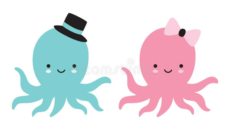 Cute baby octopus vector illustration stock illustration