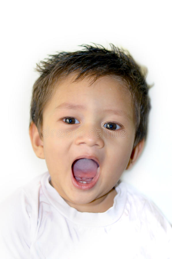 Cute baby opened his mouth stock image