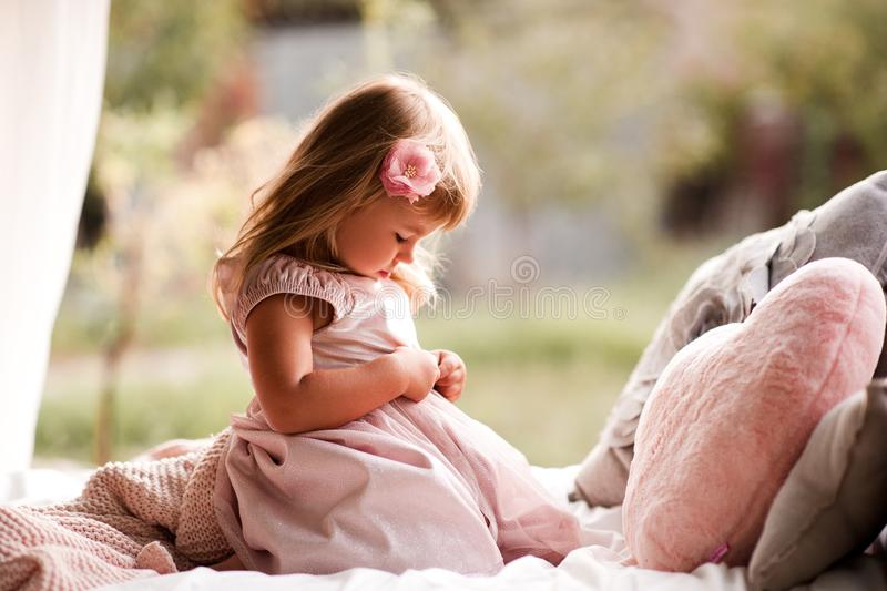 Cute baby outdoors royalty free stock photo