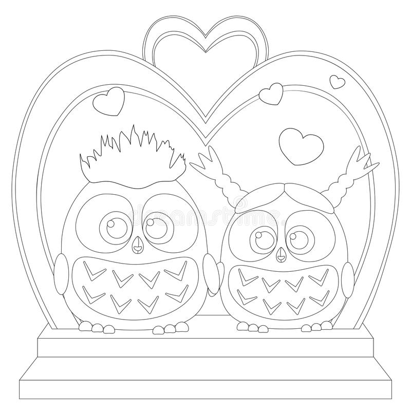 Cute baby owl in love black and white wedding poster, heart, arc, stair royalty free illustration