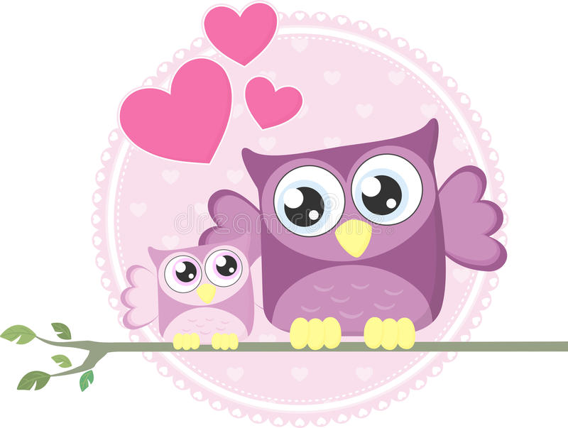 Cute baby owl and mom royalty free illustration