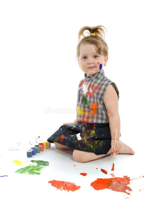 Cute baby paintings stock photo