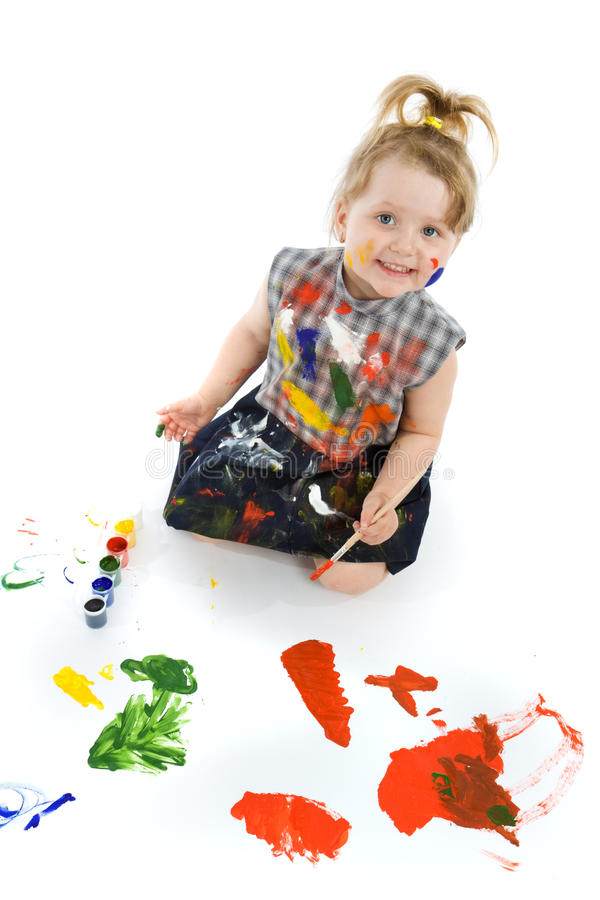 Cute baby paintings royalty free stock photo