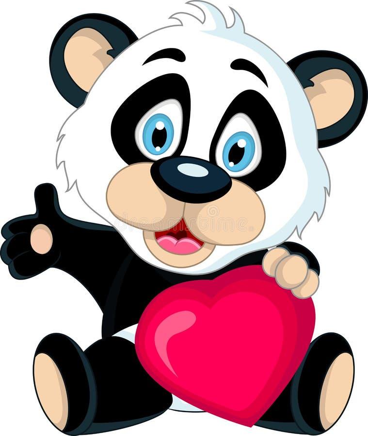 Cute Baby panda holding love heart stock illustration