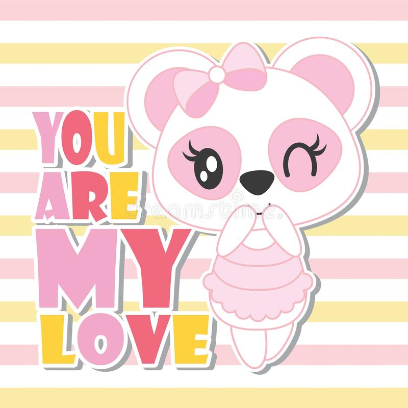 Cute Baby Panda With My Love Text On Striped Background Cartoon Illustration For Baby Shower Card Design Stock Vector Illustration Of Happy Childhood 97988693