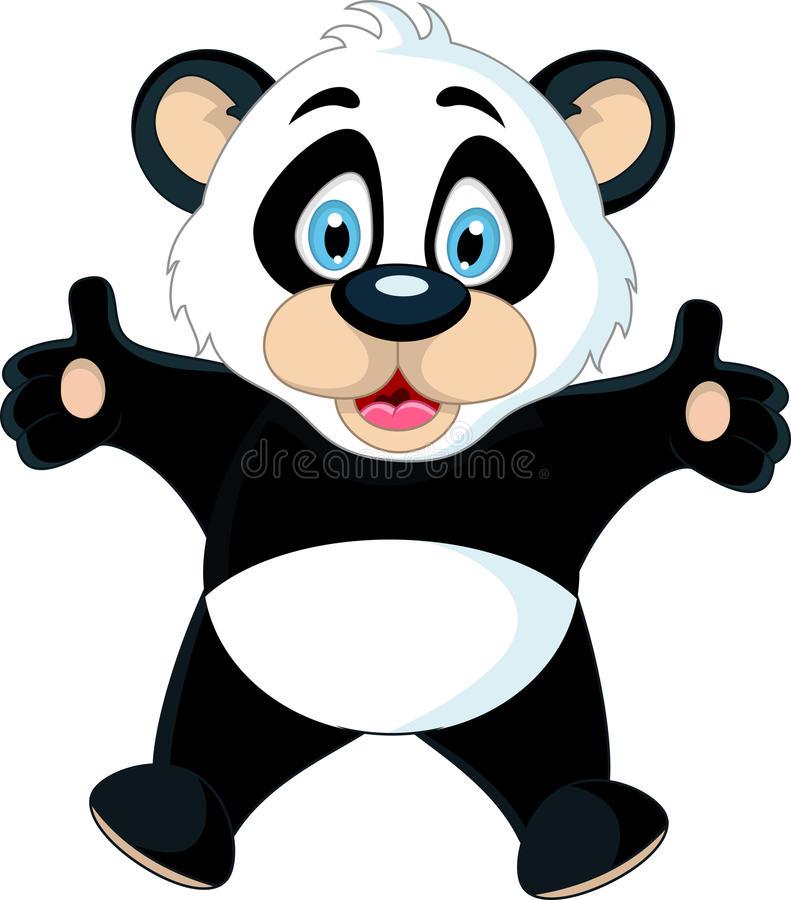 Cute Baby panda rising his hand royalty free illustration
