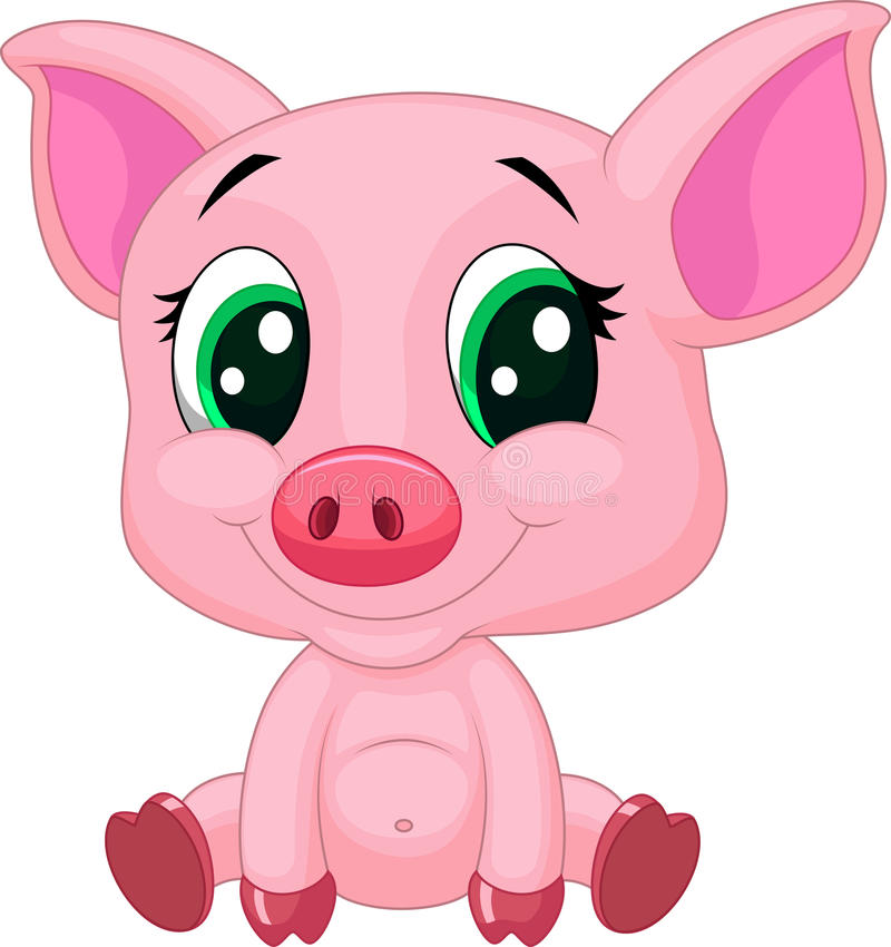 Cute baby pig cartoon stock illustration