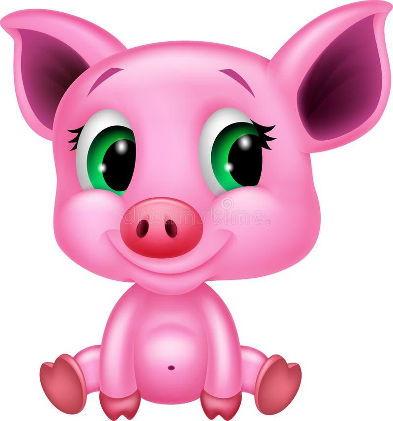 Cute baby pig cartoon vector illustration