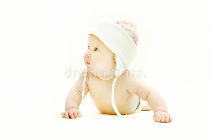 Cute baby in pink hat. Over white royalty free stock photos