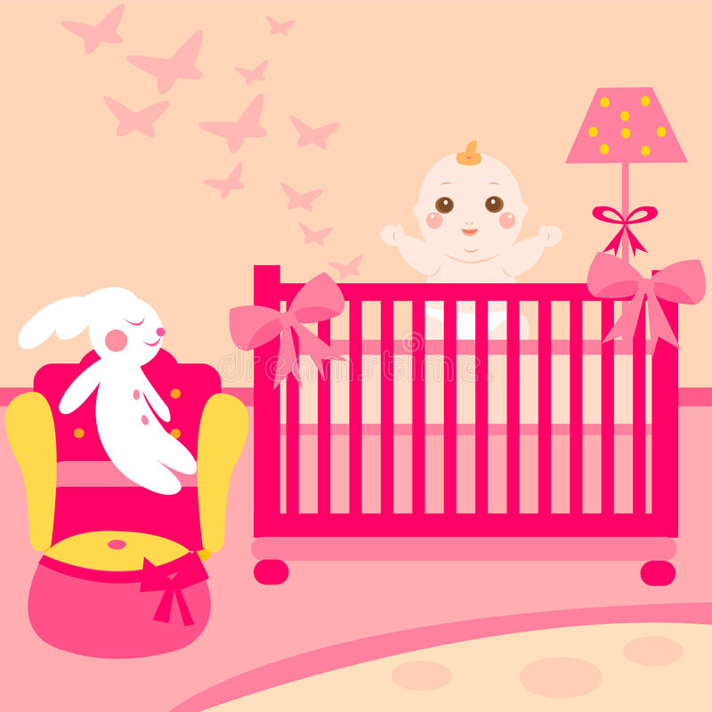 Cute baby pink room vector illustration