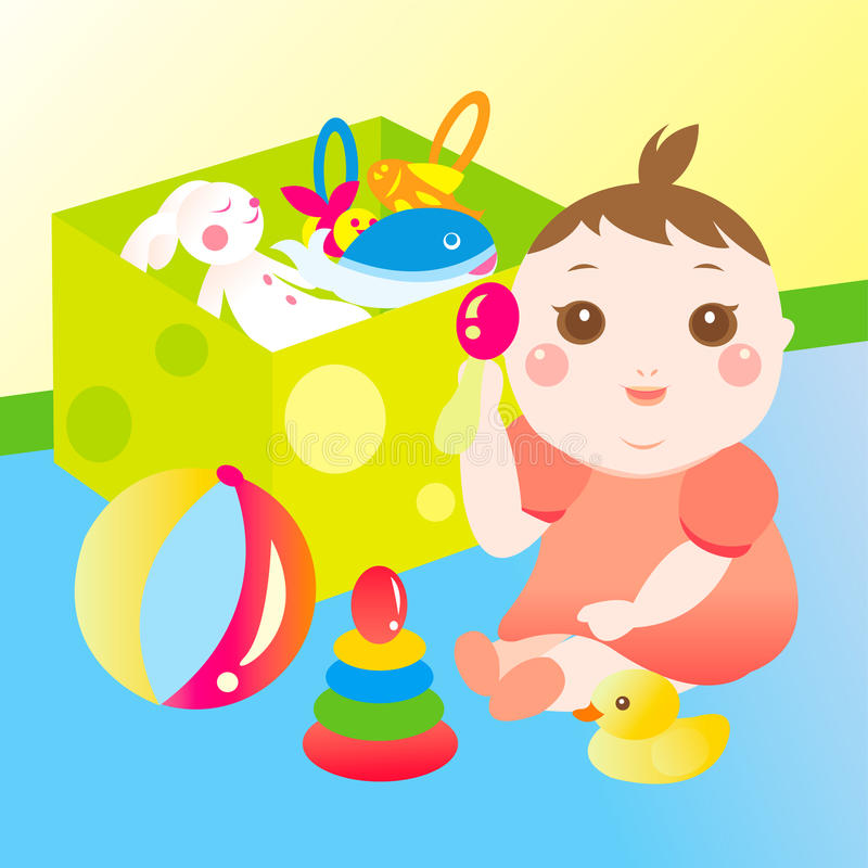 Cute baby playing toy royalty free illustration