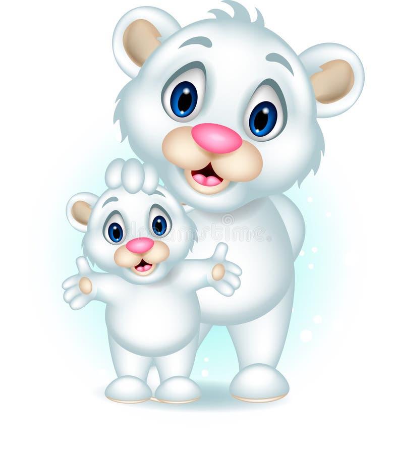 Cute baby polar bear posing with his son. Illustration of cute baby polar bear posing with his son vector illustration