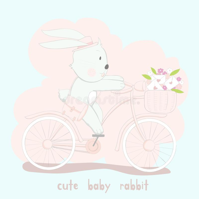 The cute baby rabbit on pink bicycle. Hand drawn cartoon style.  royalty free illustration