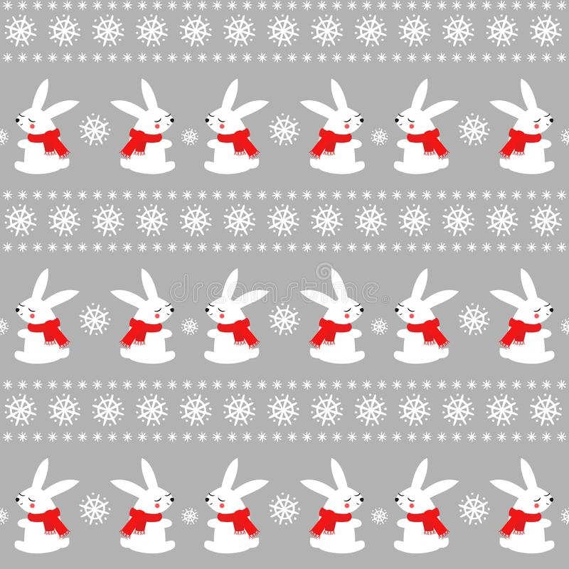 Cute baby rabbits with snowflakes seamless pattern on grey background. stock image