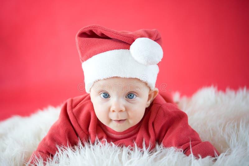 Download Cute baby Santa stock image. Image of crawling, baby - 28392237
