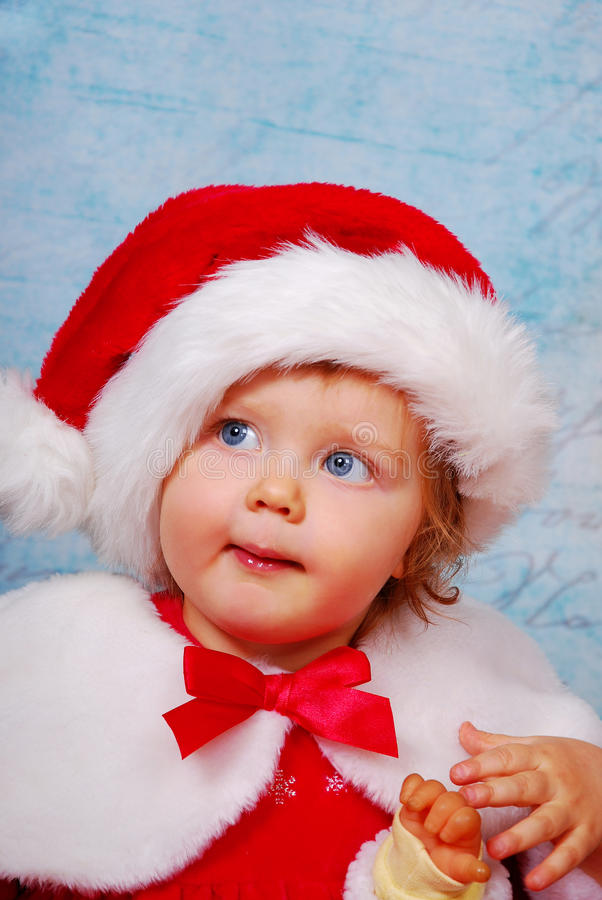 Download Cute baby in santa hat stock image. Image of festive - 28180887