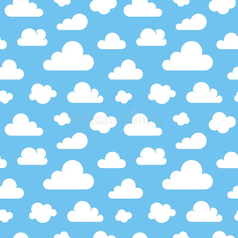 Cute baby seamless pattern with blue sky with white clouds flat icons. Cloud symbols background for kids fabric, nursery. Cloudy weather vector illustration