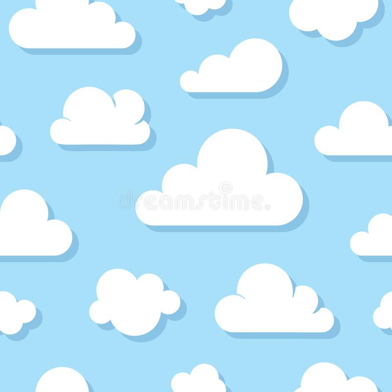 Cute baby seamless pattern with blue sky with white clouds flat icons. Cloud symbols background for kids fabric, nursery stock illustration