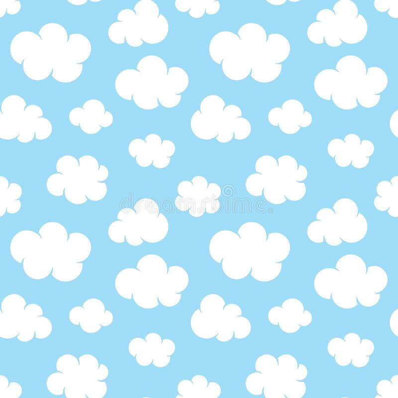 Cute baby seamless pattern with blue sky with white clouds flat icons. Cloud symbols background for kids fabric, nursery. Cloudy weather stock illustration