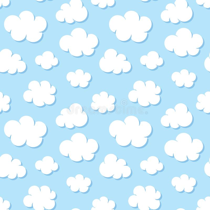 Cute baby seamless pattern with blue sky with white clouds flat icons. Cloudy weather. Cloud symbols background for kids stock illustration