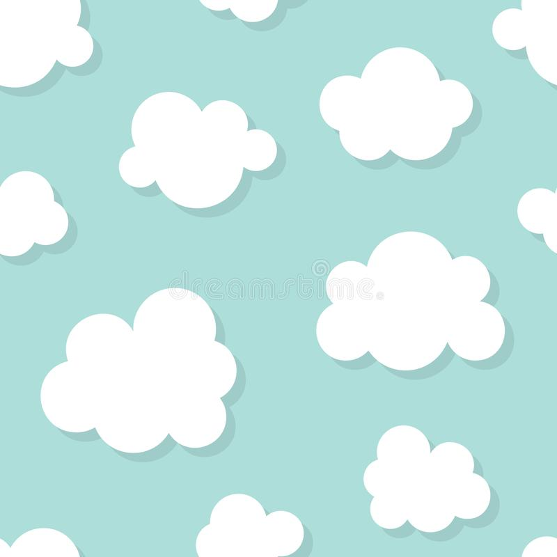 Cute baby seamless pattern with blue sky with white clouds flat icons. Cloudy weather. Cloud symbols background for kids. Fabric, nursery royalty free illustration