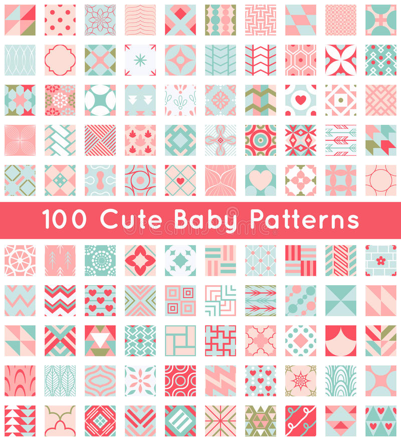 100 Cute baby seamless pattern. Retro pink, white royalty free illustration