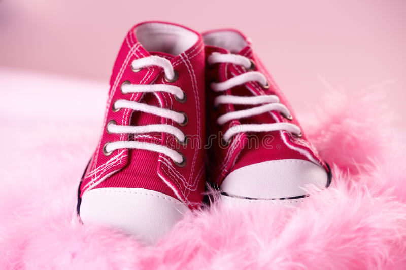 Cute baby shoes stock images