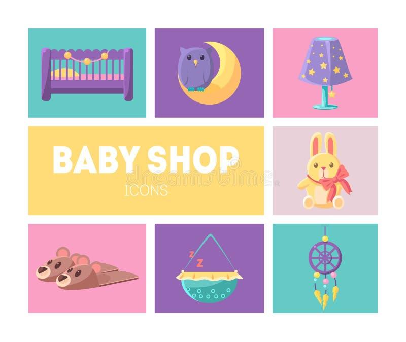 Cute Baby Shop Icons Set, Goods for Babies Design Elements Vector Illustration. Web Design vector illustration