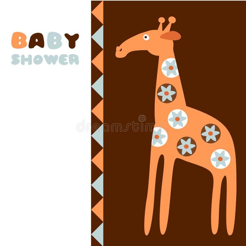 Cute baby shower birthday invitation card with giraffe, illustration royalty free illustration