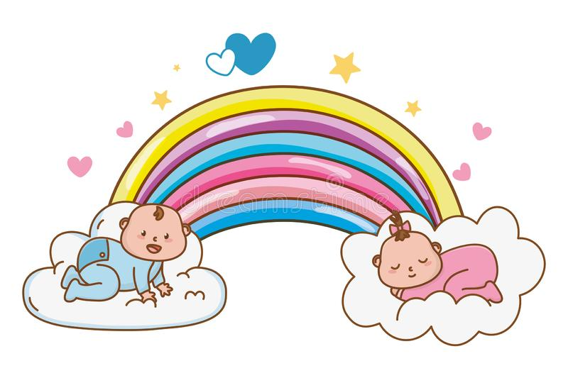 Cute baby shower cartoon. Cute baby shower babies with magic elements cartoon vector illustration graphic design royalty free illustration