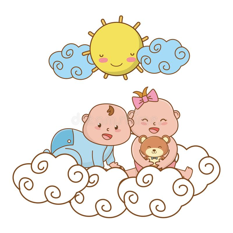 Cute baby shower cartoon. Cute baby shower babies with magic elements cartoon vector illustration graphic design stock illustration