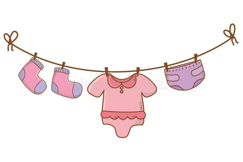 Cute baby shower cartoon vector illustration