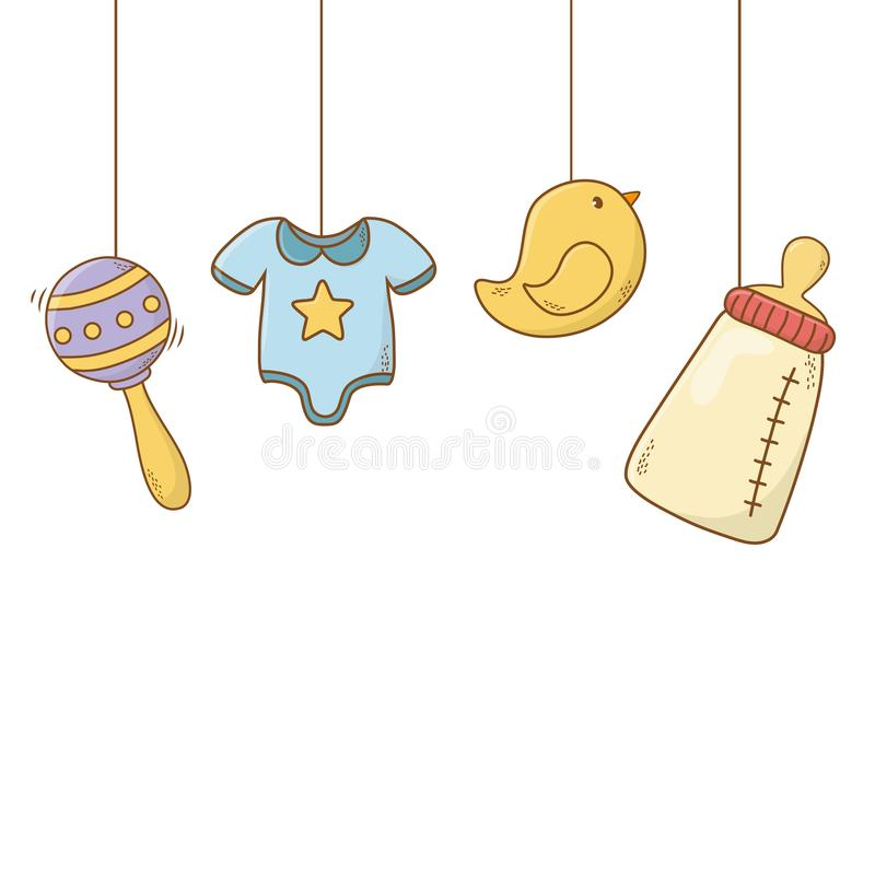 Cute baby shower cartoon royalty free illustration