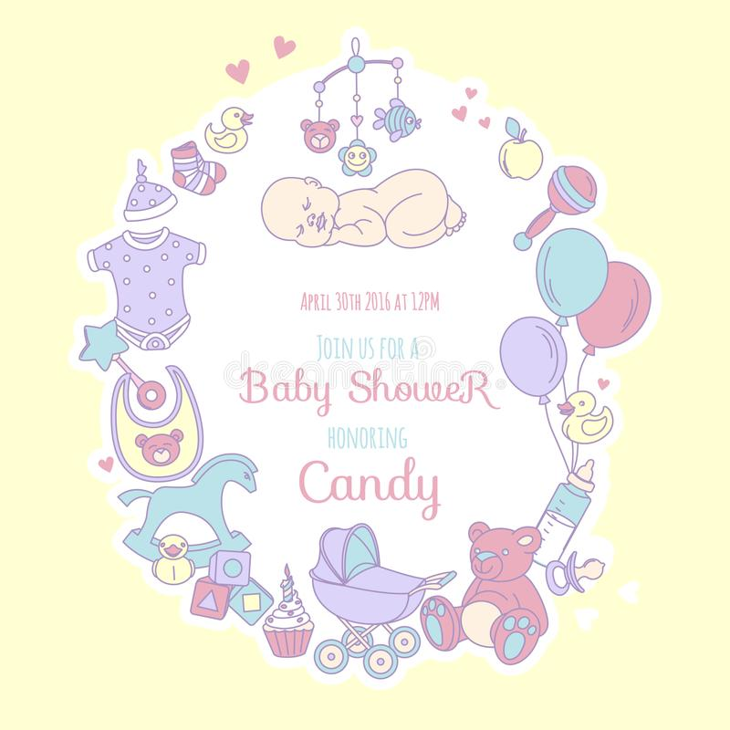 Cute Baby Shower Invitation For Boy Or Girl, Party Invitation Stock ...