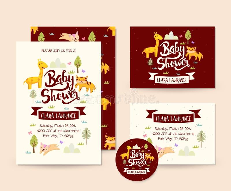 Cute Wildlife Adventure Theme Baby Shower Invitation Card Illustration Template royalty free illustration