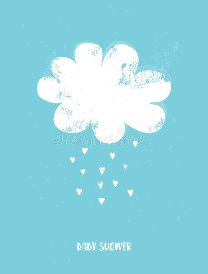 Cute Baby Shower Vector Illustration with White Cloud and Rain of Heart Shape on a Blue Background. stock photography