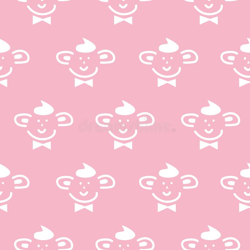 Cute baby simple character seamless vector pattern. Baby pink girlish texture with funny face. vector illustration
