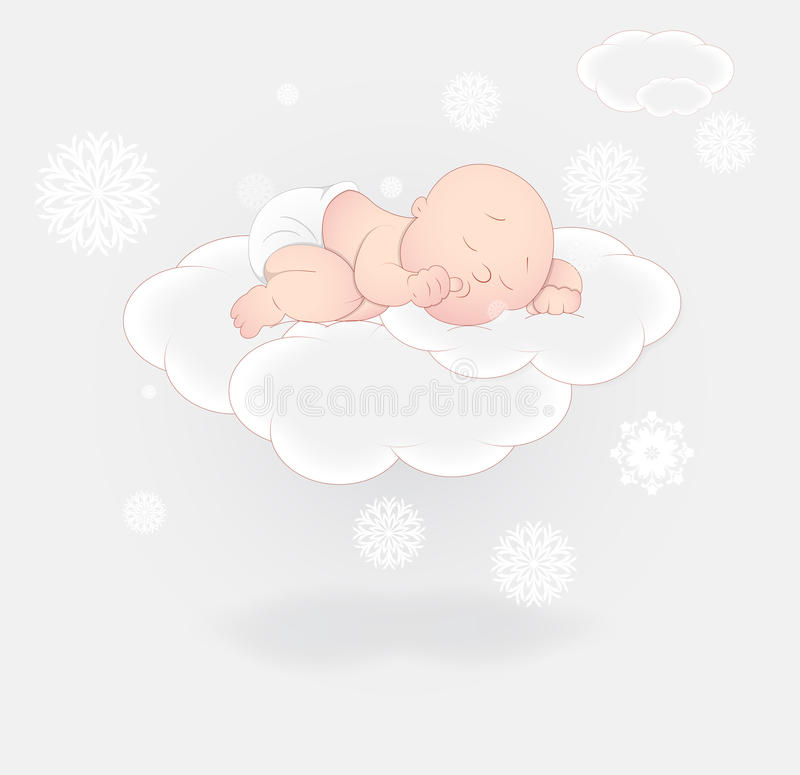 Download Cute Baby Sleeping On Cloud Stock Vector - Illustration of character, adorable: 24338773
