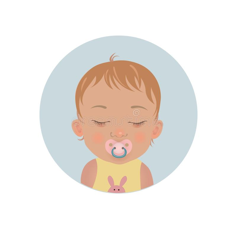 Cute baby sleeping with soother emoticon. Sleepy child with pacifier emoji. Toddler sleep with dummy icon. Cute baby sleeping with soother emoticon. Sleepy vector illustration