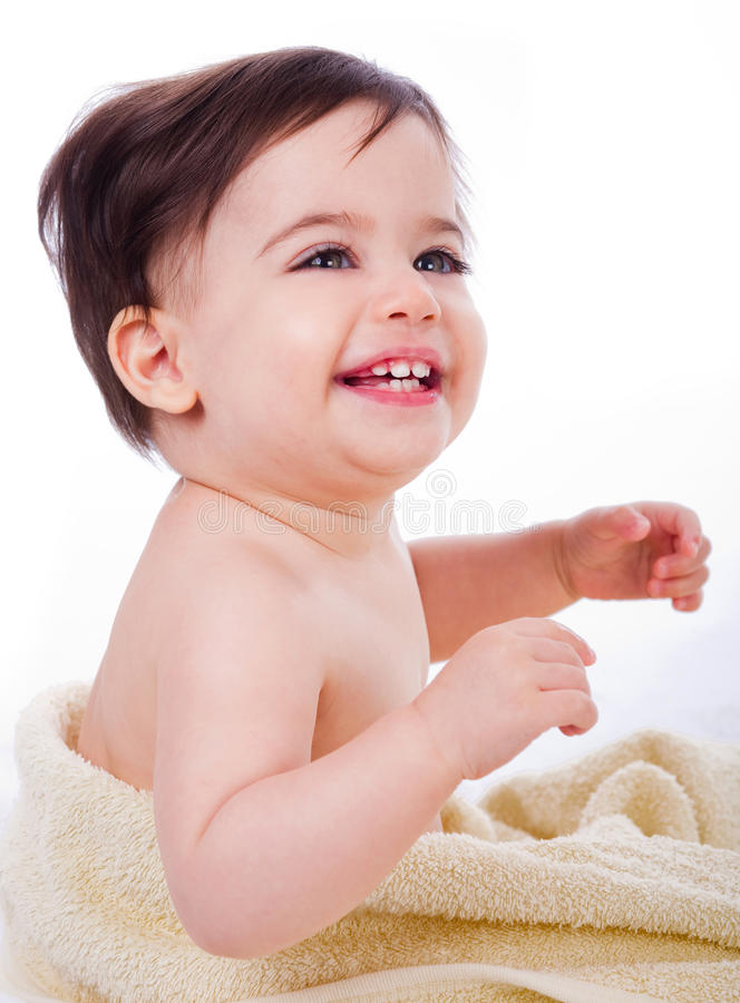 Cute baby smiling stock images