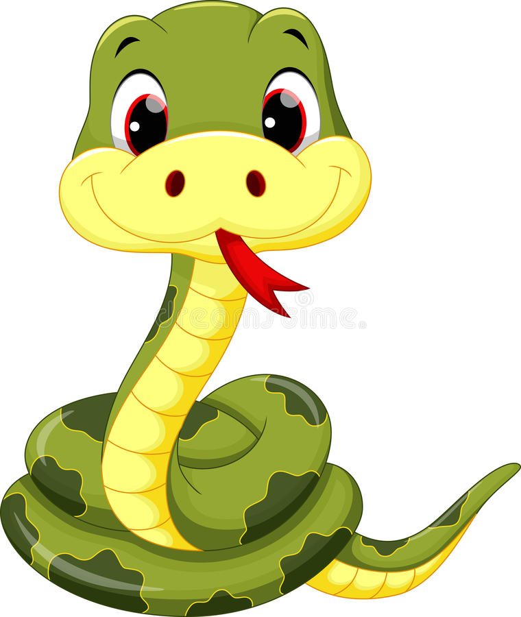 Cute baby snake cartoon vector illustration